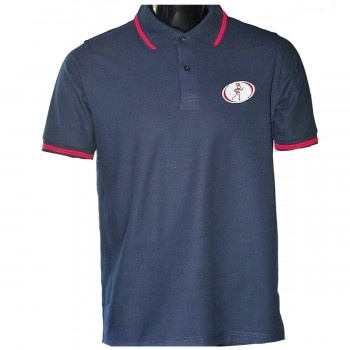 Contrast Tipped Collar Polo Navy