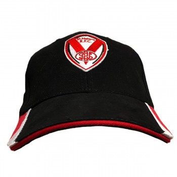 Black with Red Brush Cotton Cap