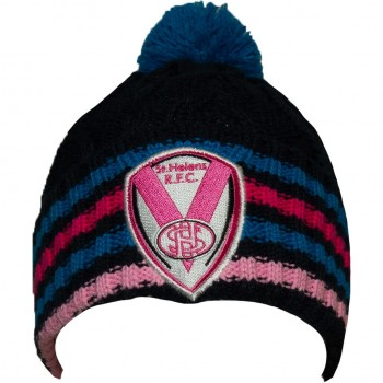 Cable Knit Hat Navy/Pink