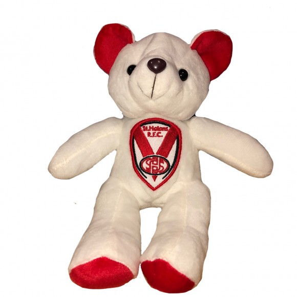 White Beanie Bear - Embroidered Crest