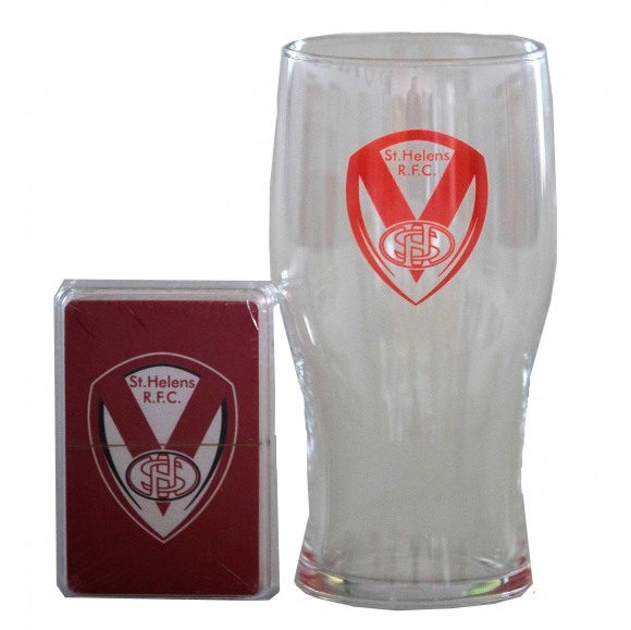 Pint Glass and Playing Cards in Acetate Box