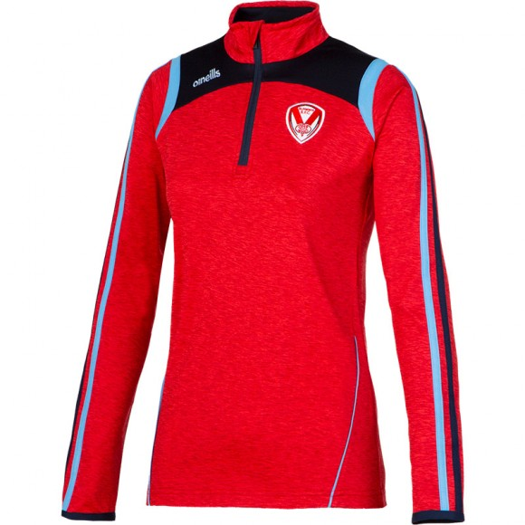 Ladies Halo Half Zip Squad Top Red Marl