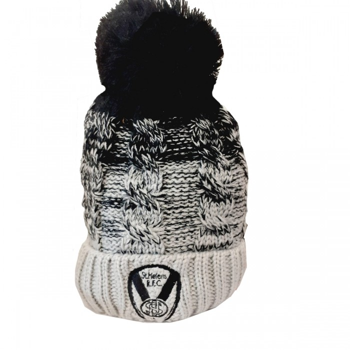 Ombre Blk/Grey Cable Knit Hat