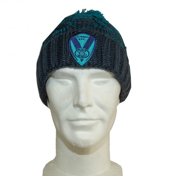 Ombre Navy/Teal Cable Knit Hat
